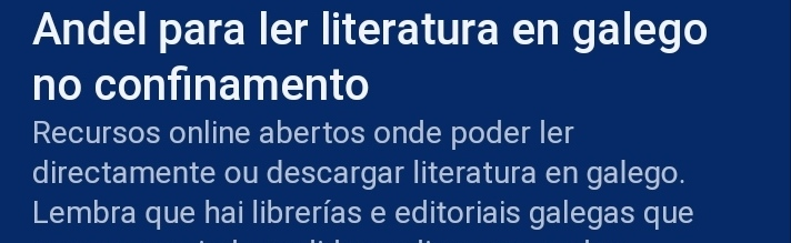 Recursos para ler ou descargar literatura en galego de Alexandra Cabana Outeiro