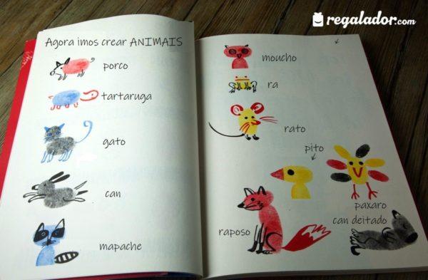 Exemplos de animais feitos con pegadas